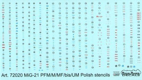 Model Maker Decals 1/72 MiG-21 PFM/M/MF/bis/UM Polish stencils # D72020