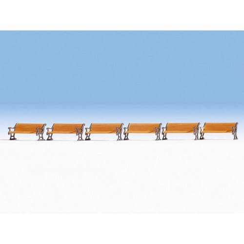 NOCH HO Scale Benches (6) Accessory Set # N14849
