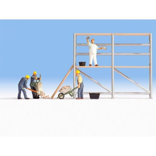 NOCH HO Scale Bricklayers (4) Scaffold & Accessories Figure Set # N15054