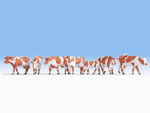 NOCH HO Scale Brown & White Cows (7) Figure Set # N15726