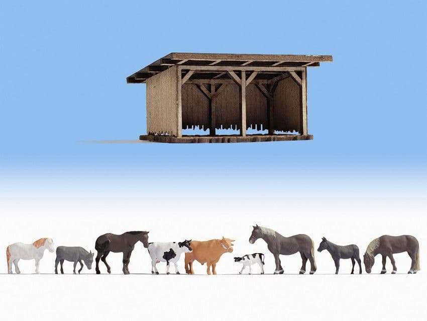 NOCH HO Scale 'Cattle Shelter' Deco Scene # N12042
