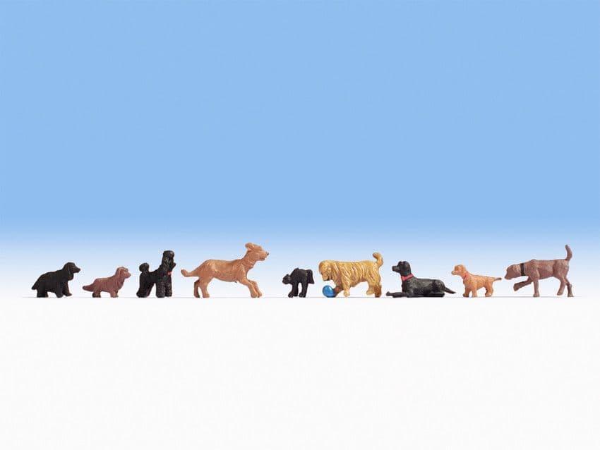 NOCH HO Scale Dogs (9) Figure Set # N15719