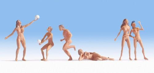 NOCH HO Scale Nudists at the Beach (6) Figure Set # N15844