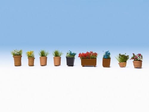 NOCH HO Scale Ornamental Flowers In Pots (9) # N14084