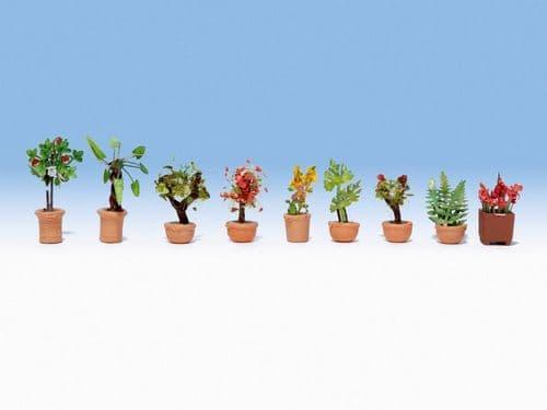 NOCH HO Scale Ornamental Plants In Tubs (9) # N14082