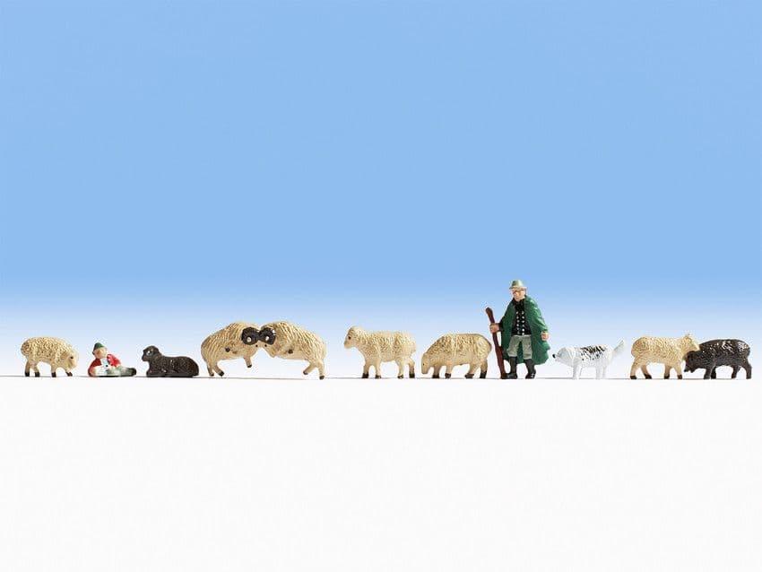 NOCH HO Scale Sheep and Shepherds (11) # N36750