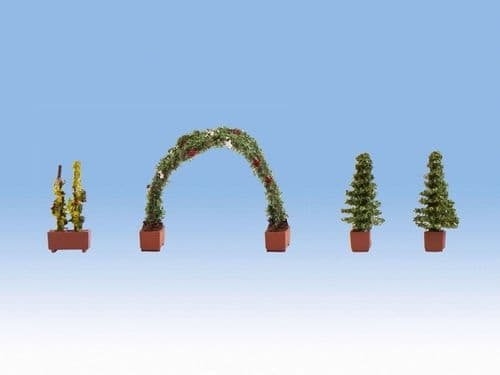NOCH HO Scale - Thuja (2) Rose & Rose Arch Ornamental Plants # N14022