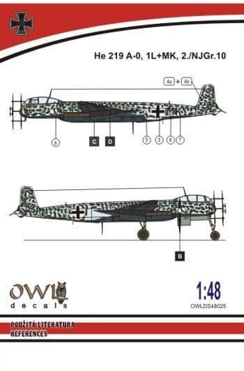 Owl 1/48 Heinkel He-219 A-0 1L+MK # DS4825