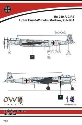 Owl 1/48 Heinkel He-219 A-0 G9+FK (W. Modrow) # DS4823