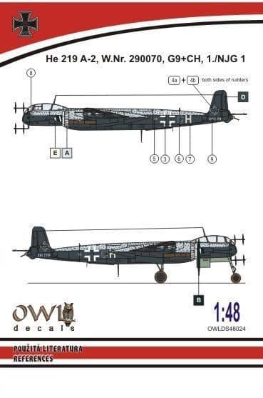 Owl 1/48 Heinkel He-219 A-2 G9+CH # DS4824