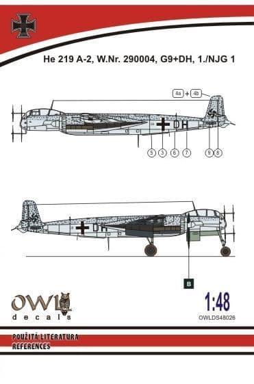 Owl 1/48 Heinkel He-219 A-2 G9+DH # DS4826