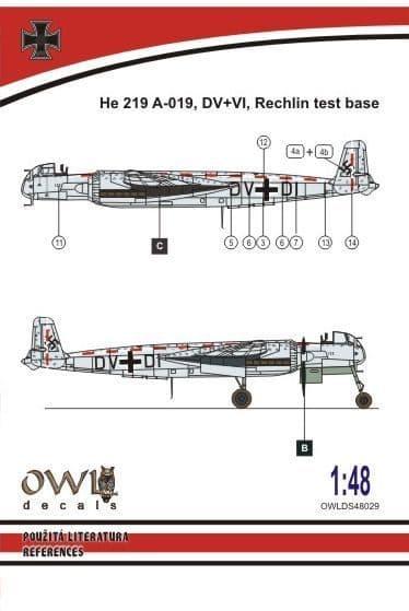 Owl 1/48 Heinkel He-219 V133 DV+DI (Catapult Test Machine) # DS4829