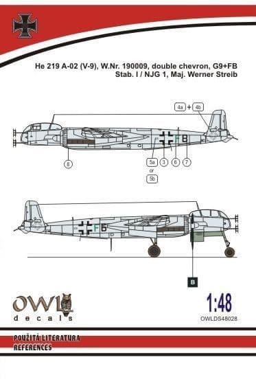 Owl 1/48 Heinkel He-219 V9 G9+FB (W.Streib) # DS4828
