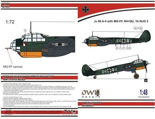 Owl 1/48 Junkers Ju-88A-4 with MGFF Cannon (R4+QU NJG 2) # DS4839