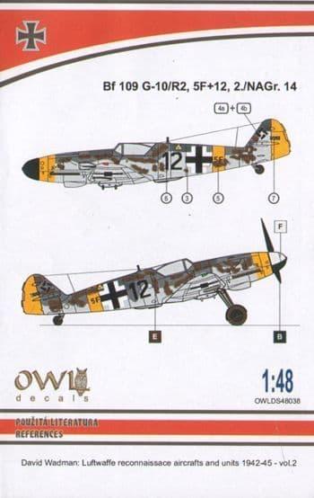 Owl 1/48 Messerschmitt Bf-109G-10/R2 (5F+12) Reconnaissance # DS4838