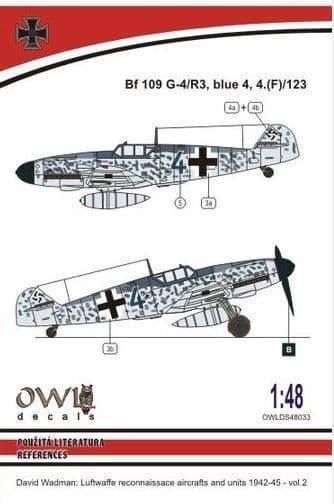 Owl 1/48 Messerschmitt Bf-109G-4/R3 Blue 4 Reconnaissance # DS4833