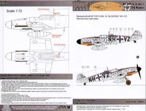 Owl 1/48 Messerschmitt Bf-109G-6/N NH+VZ Werneuchen Test Base # DS4805