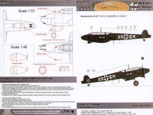 Owl 1/48 Messerschmitt Bf-110D-3 G9+CM 4/NJG 1 Spanner Anlage Belgium 1942 # DS4803