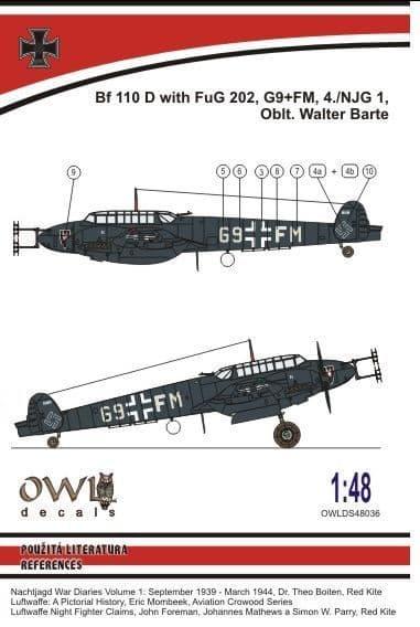 Owl 1/48 Messerschmitt Bf-110D FuG 202 (Barte) # DS4836