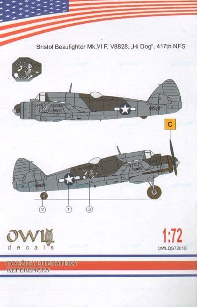 Owl 1/72 Bristol Beaufighter Mk.VIF V8828, Hi Dog, 417th NFS # DS7218