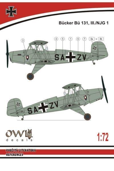 Owl 1/72 Bucker Bu-131 III./NJG 1 # 7214