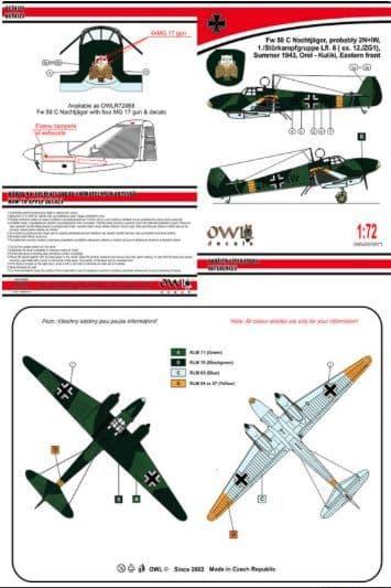 Owl 1/72 Focke-Wulf Fw-58B Weihe Nachtjager Gun Nose Versions # 7271