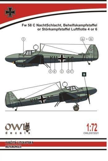 Owl 1/72 Focke-Wulf Fw-58C Weihe Nachtschlacht # DS7221