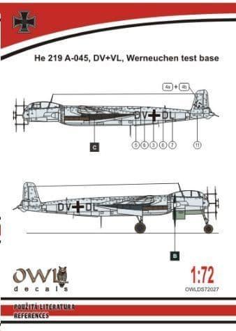 Owl 1/72 Heinkel He-219A-0 DV+DL # DS7227