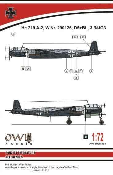 Owl 1/72 Heinkel He-219A-2 D5+BL # DS7222