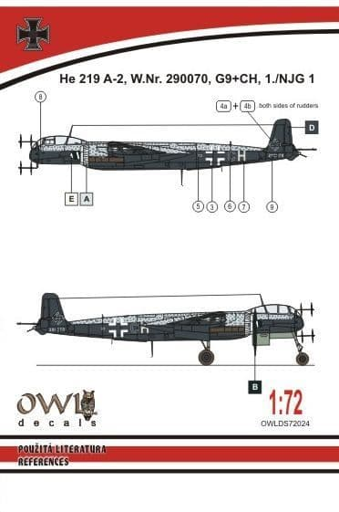 Owl 1/72 Heinkel He-219A-2 G9+CH # DS7224