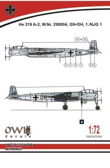 Owl 1/72 Heinkel He-219A-2 G9+DH # DS7226