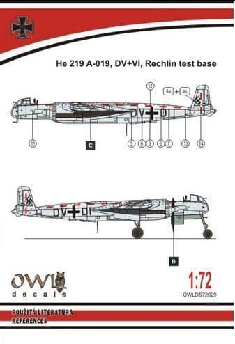Owl 1/72 Heinkel He-219V-019 DV+VI (Catapult Test Machine) # DS7229