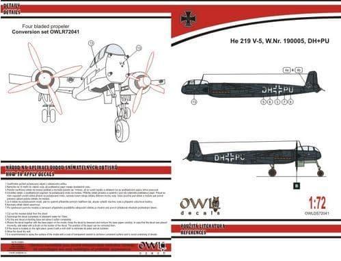 Owl 1/72 Heinkel He-219V-5 DH+PU Four Blades Propeller (Black Version) # DS7241