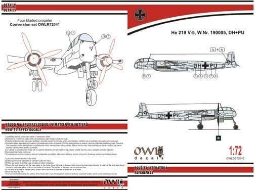Owl 1/72 Heinkel He-219V-5 DH+PU Four Blades Propeller (Light Version) # DS7242