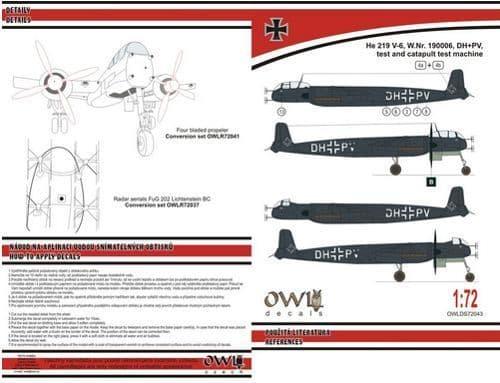 Owl 1/72 Heinkel He-219V-6 DH+PV Four Blades Propeller # DS7243
