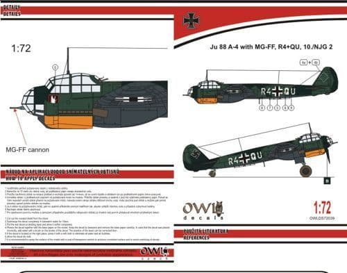 Owl 1/72 Junkers Ju-88A-4 with MGFF Cannon (R4+QU NJG 2) # DS7239