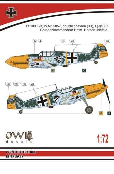 Owl 1/72 Messerschmitt Bf-109E PeilG IV Day Fighter (Ihlefeld) # DS7208