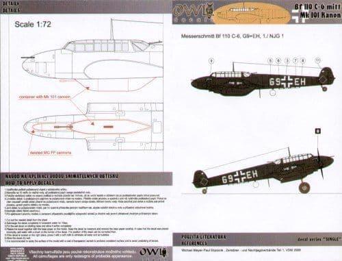 Owl 1/72 Messerschmitt Bf-110C-6 G9+EH 1/NJG 1 # DS7206
