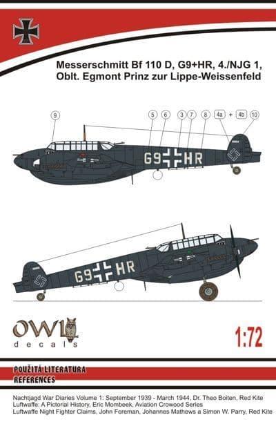 Owl 1/72 Messerschmitt Bf-110D-0 Dackelbauch (Lippe-Wiessenfeld) # DS7210