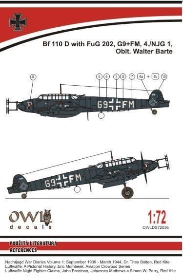 Owl 1/72 Messerschmitt Bf-110D-3 FuG 202 (Barte) # DS7236