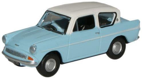 Oxford 1/76 Lt.Blue/Ermine White Ford Anglia # 76105007