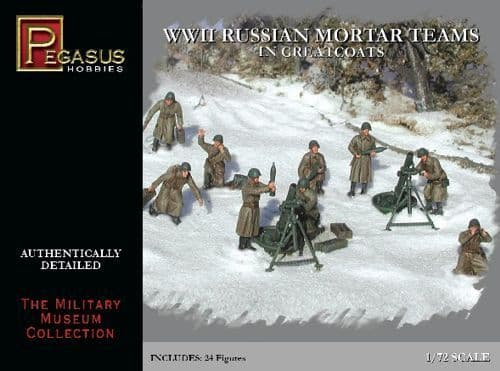 Pegasus Hobbies 1/72 WWII Soviet Mortar teams in Greatcoats # 7273