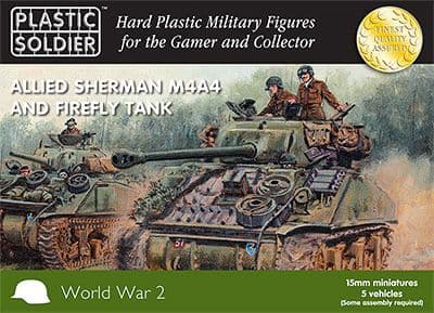 Plastic Soldier 15mm Allied Sherman M4A4 and Firefly Tank x 5 Ve