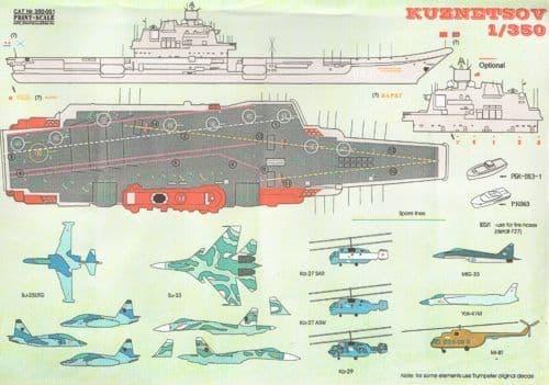 Print Scale 1/350 Soviet Aircraft Carrier Admiral Kuznetsov # 350-001