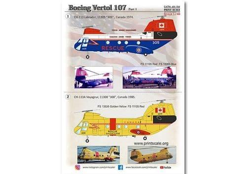 Print Scale Decals 1/48 Boeing-Vertol 107 Part 1 # 48194