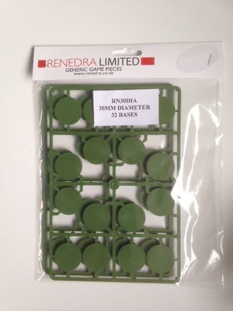 Renedra 32 x 30mm Diameter Bases Green # RN30DIA