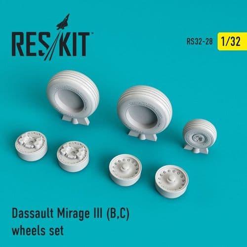 ResKit 1/32 Dassault Mirage IIIB/IIIC) Wheels Set # 32-0028