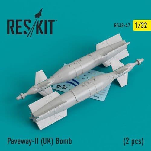 ResKit 1/32 Paveway-II (UK) Bomb (2 Pcs) # 32-0047