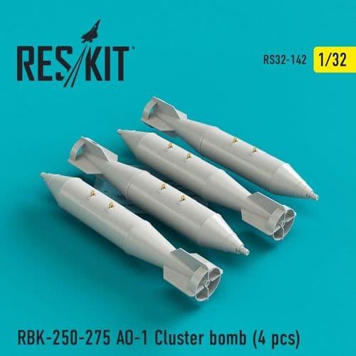 ResKit 1/32 RBK-250-275 AO-1 Cluster Bomb (4 Pcs) # 32-0142