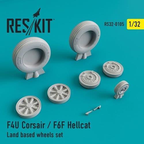 ResKit 1/32 Vought F4U-1 Corsair / Grumman F6F Hellcat Land Based Wheels Set # 32-0105